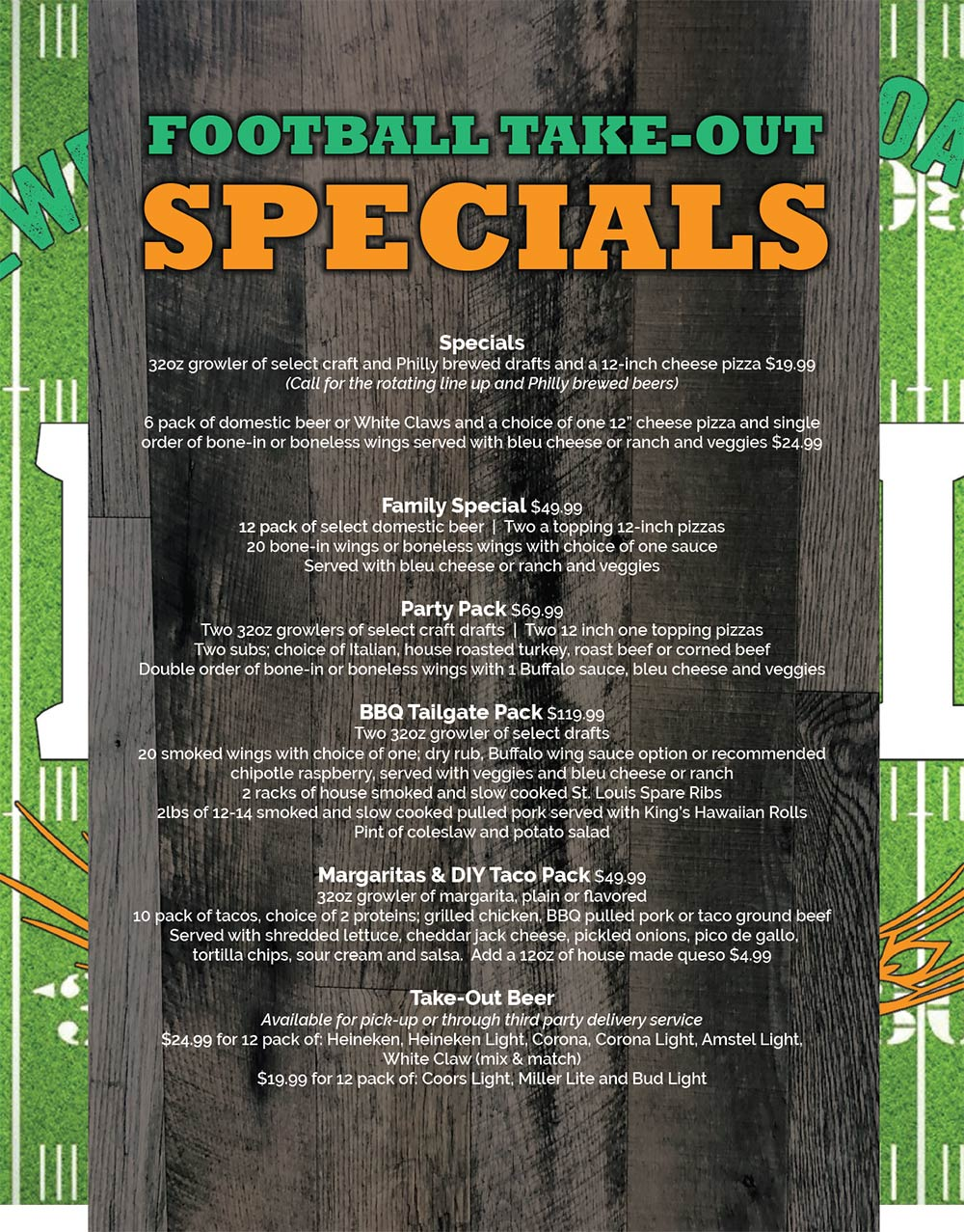 Philly Bar Football Menu